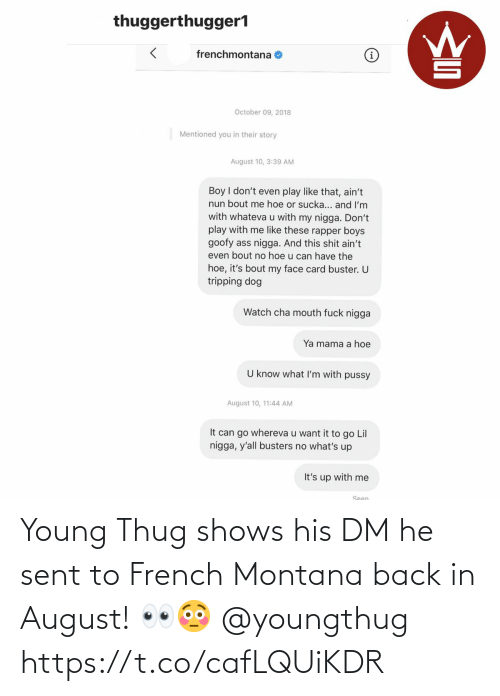 Thug, Young Thug, and French Montana: Young Thug shows his DM he sent to French Montana back in August! 👀😳 @youngthug https://t.co/cafLQUiKDR