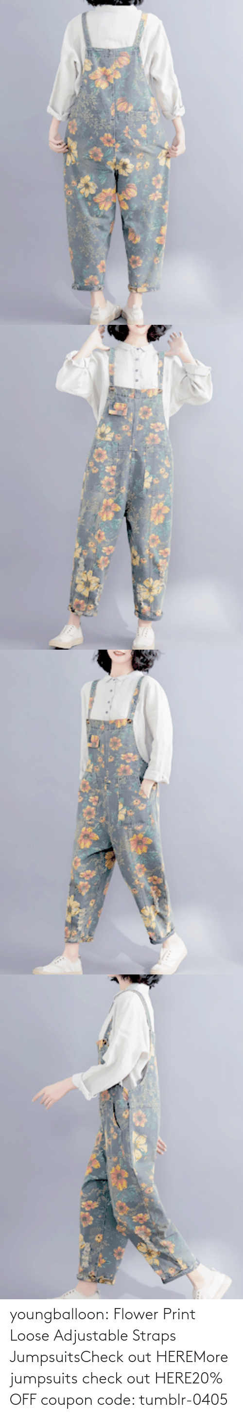 Tumblr, Blog, and Flower: youngballoon:  Flower Print Loose Adjustable Straps JumpsuitsCheck out HEREMore jumpsuits check out HERE20% OFF coupon code: tumblr-0405