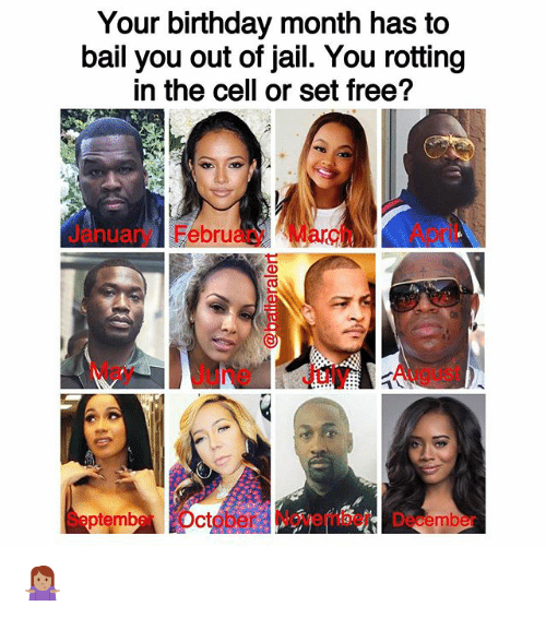 Birthday, Jail, and Memes: Your birthday month has to  bail you out of jail. You rotting  in the cell or set free?  Jry FebruaryMarApril  anua  May June July August  SeptmberOctober November December 🤷🏽‍♀️