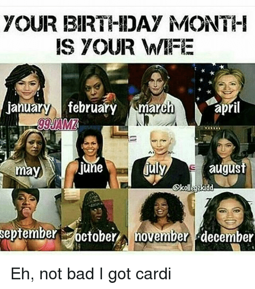your birthday month is your wife ianua february march april august june september october