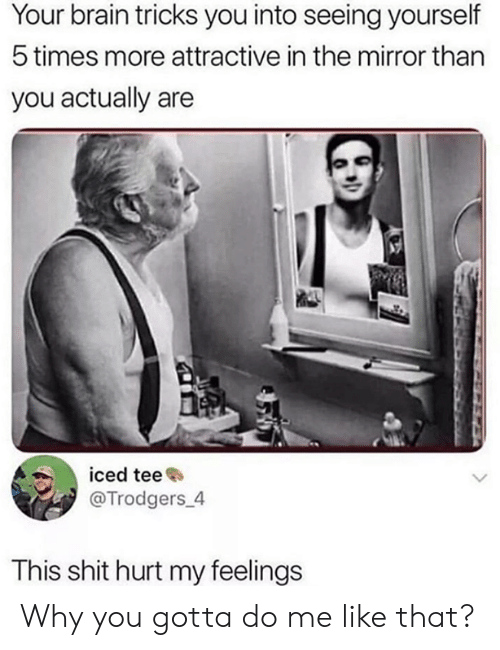 Dank, Shit, and Brain: Your brain tricks you into seeing yourself  5 times more attractive in the mirror than  you actually are  iced tee  @Trodgers_4  This shit hurt my feelings Why you gotta do me like that?