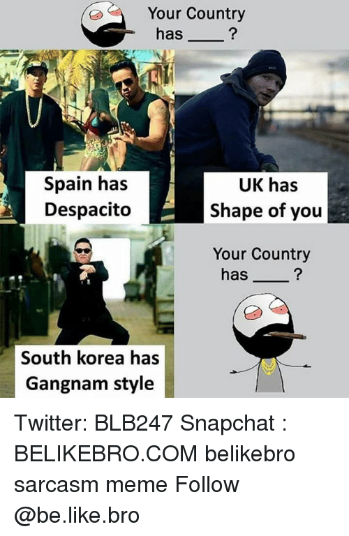 Be Like, Meme, and Memes: Your Country  has_  Spain has  Despacito  UK has  Shape of you  Your Country  has_  South korea has  Gangnam style Twitter: BLB247 Snapchat : BELIKEBRO.COM belikebro sarcasm meme Follow @be.like.bro