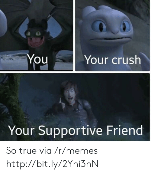 Crush, Memes, and True: Your crush  You  Your Supportive Friend So true via /r/memes http://bit.ly/2Yhi3nN
