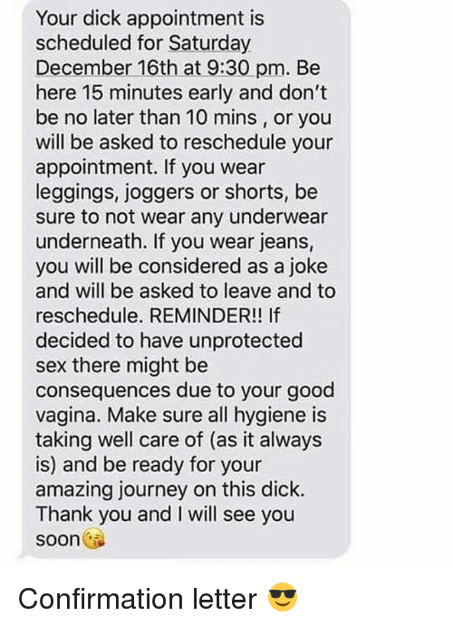 Sex appointment text