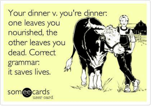 your dinner v youre dinner one leaves you nourished the 7171590 25 best correct grammar memes grammarly memes, spells memes