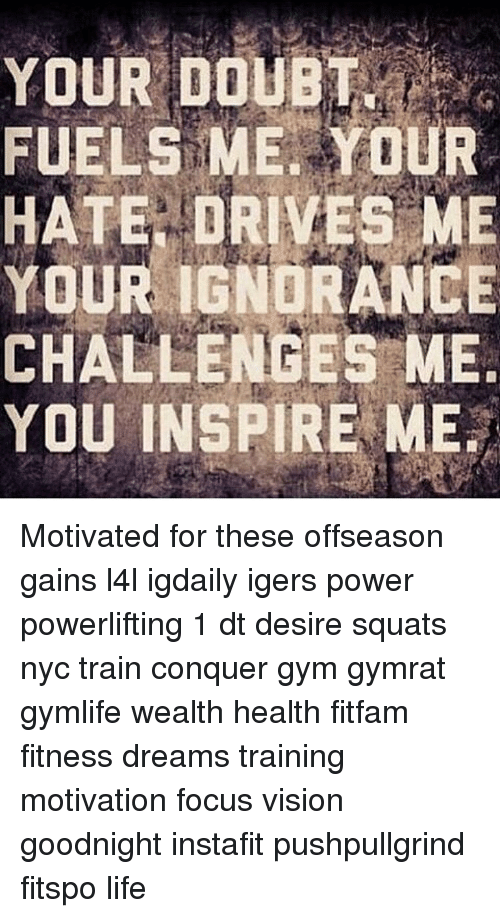 Memes, 🤖, and Fuel: YOUR DOUBT  FUELS ME YOUR  HATE DRIVES ME  YOUR IGNORANCE  CHALLENGES ME  YOU INSPIRE ME. Motivated for these offseason gains l4l igdaily igers power powerlifting 1 dt desire squats nyc train conquer gym gymrat gymlife wealth health fitfam fitness dreams training motivation focus vision goodnight instafit pushpullgrind fitspo life