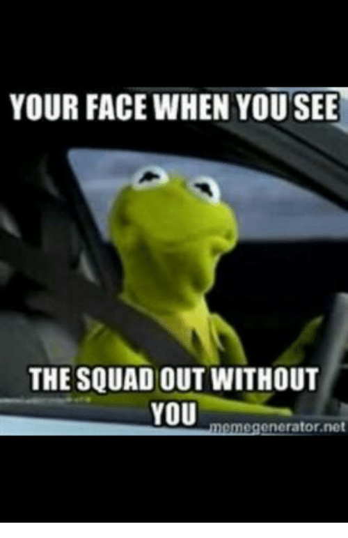 Kermit the Frog, Squad, and Net: YOUR FACE WHEN YOU SEE  THE SQUAD OUT WITHOUT  YOU  meme generator net