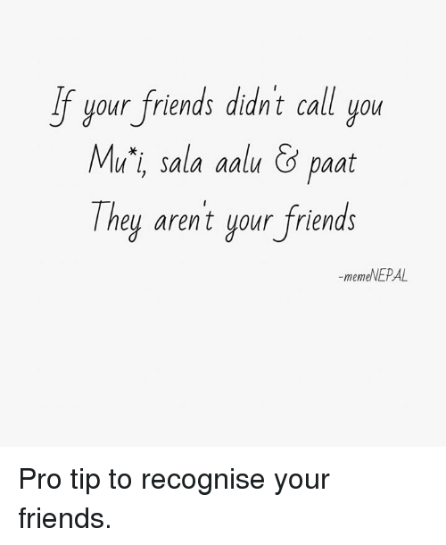 Friends, Pro, and Nepali: your friends din't call you  Mu'i, sala aalu &paat  They arent your friends  If uour friends didnt call uo  -memeNEPAL Pro tip to recognise your friends.