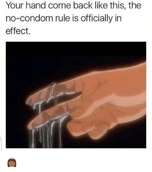 Condom, Memes, and Back: Your hand come back like this, the  no-condom rule is officially in  effect. 👸🏾