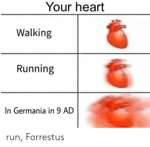 Run, Heart, and Running: Your heart  Walking  Running  In Germania in 9 AD run, Forrestus