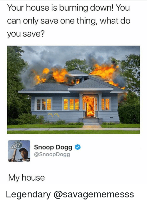 Memes, My House, and Snoop: Your house is burning down! You  can only save one thing, what do  you save?  Snoop Dogg  @SnoopDogg  87  My house Legendary @savagememesss