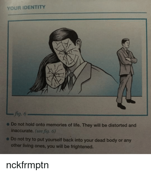 Life, Living, and Back: YOUR IDENTITY  fig. 6  inaccurate. (see fig. 6)  other living ones, you will be frightened.  e Do not hold onto memories of life. They will be distorted and  e Do not try to put yourself back into your dead body or any nckfrmptn