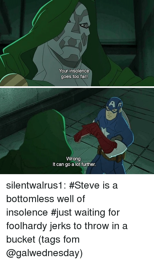 Tumblr, Blog, and Tagged: Your insolence  goes too far   Wrong  It can go a lot further silentwalrus1:   #Steve is a bottomless well of insolence#just waiting for foolhardy jerks to throw in a bucket(tags fom @galwednesday)