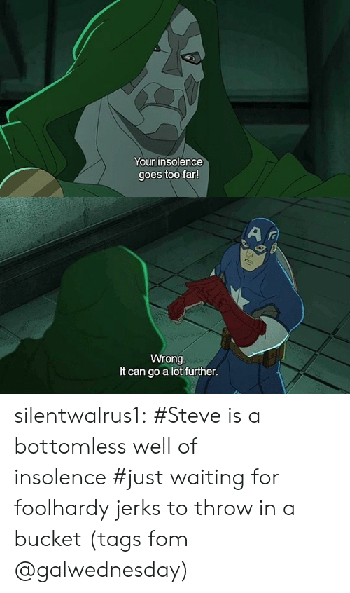 Target, Tumblr, and Blog: Your insolence  goes too far   Wrong  It can go a lot further silentwalrus1:    #Steve is a bottomless well of insolence#just waiting for foolhardy jerks to throw in a bucket(tags fom @galwednesday)