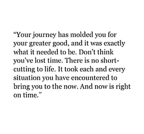 "Journey, Life, and Lost: ""Your journey has molded you for  your greater good, and it was exactly  what it needed to be. Don't think  you've lost time. There is no short-  cutting to life. It took each and every  situation you have encountered to  bring you to the now. And now is right  on time."""