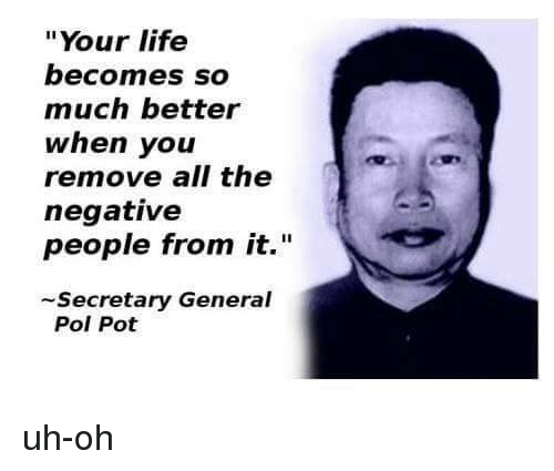Your Life Becomes So Much Better When You Remove All The Negative Beauteous Pol Pot Quotes