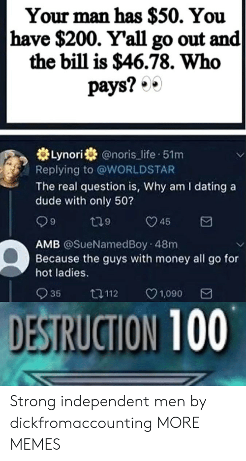 Dank, Dating, and Dude: Your man has $50. You  have $200. Yall go out and  the bill is $46.78. Who  pays?·.  券Lynorí米@noris-life-51m  Replying to @WORLDSTAR  The real question is, Why am I dating a  dude with only 50?  9  9  AMB @SueNamedBoy 48m  Because the guys with money all go for  hot ladies.  935  112  1,090  SRUGION 100 Strong independent men by dickfromaccounting MORE MEMES