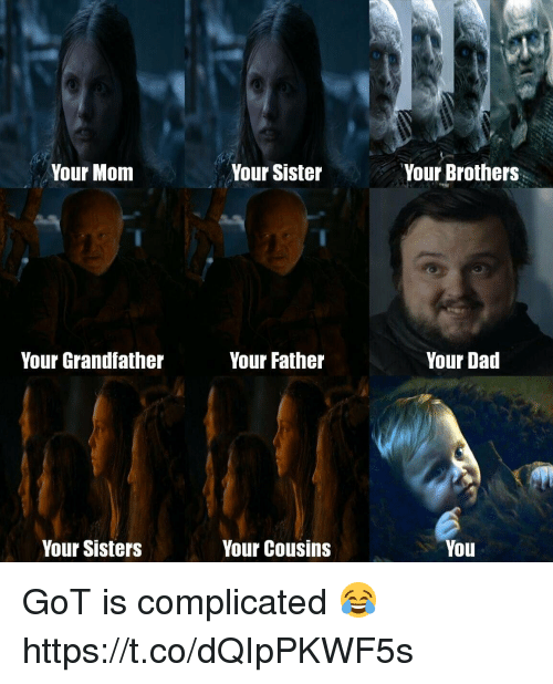 Dad, Mom, and Got: Your Mom  Your Sister  Your Brothers  Your Grandfather  Your Father  Your Dad  Your Sisters  Your Cousins  You GoT is complicated 😂 https://t.co/dQIpPKWF5s