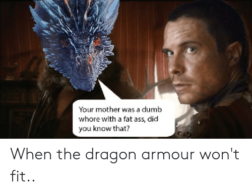 Ass, Dumb, and Fat Ass: Your mother was a dumb  whore with a fat ass, did  you know that? When the dragon armour won't fit..