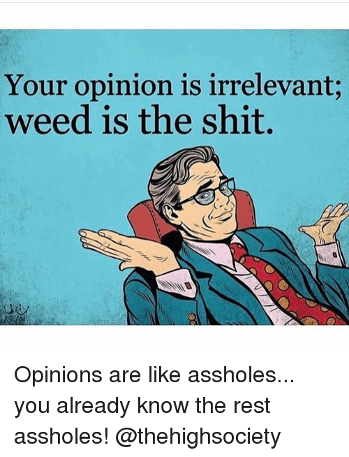 Shit, Weed, and Marijuana: Your opinion is irrelevant  weed is the shit. Opinions are like assholes... you already know the rest assholes! @thehighsociety