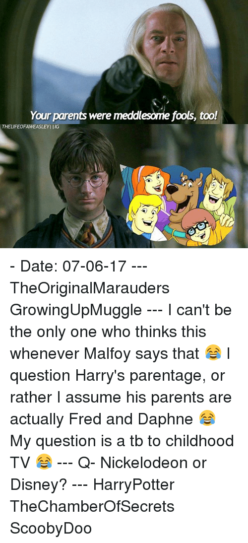 Disney, Memes, and Nickelodeon: Your parents were meddlesome fools, too!  THELIFEOFAWEASLEYI IIG - Date: 07-06-17 --- TheOriginalMarauders GrowingUpMuggle --- I can't be the only one who thinks this whenever Malfoy says that 😂 I question Harry's parentage, or rather I assume his parents are actually Fred and Daphne 😂 My question is a tb to childhood TV 😂 --- Q- Nickelodeon or Disney? --- HarryPotter TheChamberOfSecrets ScoobyDoo