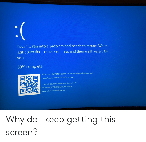 Your PC Ran Into a Problem and Needs to Restart We're Just