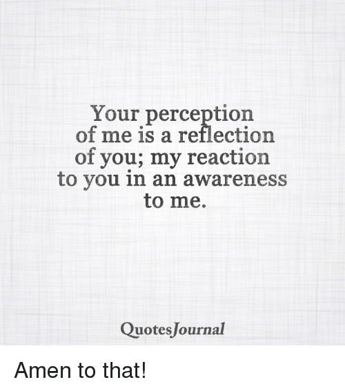 Your Perception Of Me Is A Reflection Of You My Reaction To You In