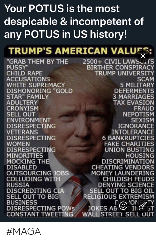 "Cheating, Fake, and Family: Your POTUS is the most  despicable & incompetent of  any POTUS in US history!  TRUMP'S AMERICAN VALUES:  ""GRAB THEM BY THE  PUSSY""  CHILD RAPE  ACCUSATIONS  WHITE SUPREMACY  DISHONORING ""GOLD  STAR"" FAMILY  ADULTERY  CRONYISM  SELL OUT  ENVIRONMENT  DISRESPECTING  VETERANS  DISRESPECTING  WOMEN  DISRESPECTING  MINORITIES  MOCKING THE  DISABLED  OUTSOURCING JOBS  COLLUDING WITH  RUSSIA  DISCREDITING CIA  SELL OUT TO BIG  BUSINESS  DISRESPECTING POWS  CONSTANT TWEETING  2500+ CIVIL LAWSUITS  BIRTHER CONSPIRACY  TRUMP UNIVERSITY  SCAM  5 MILITARY  DEFERMENTS  3 MARRIAGES  TAX EVASION  FRAUD  NEPOTISM  SEXISM  IGNORANCE  INTOLERANCE  6 BANKRUPTCIES  FAKE CHARITIES  UNION BUSTING  HOUSING  DISCRIMINATION  CHEATING VENDORS  MONEY LAUNDERING  CHILDISH FEUDS  DENYING SCIENCE  SELL OUT TO BIG OIL  RELIGIOUS EXTREMISM  D ONETY  INCEST  WALL STREET SELL OUT  JOKES AB #MAGA"