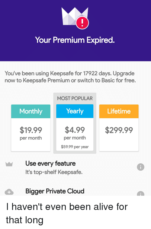 Your Premium Expired You've Been Using Keepsafe for 17922