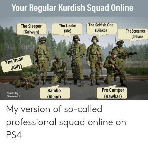 Ps4, Rambo, and Reddit: Your Regular Kurdish Squad Online  The Sleeper  The Selfish One  The Looter  (Kaiwan)  (Diako)  (Me)  The Screamer  (Daban)  The Noob  (Aidy)  Rambo  Pro Camper  (Hawkar)  Made by  u/Revenant  (Alend) My version of so-called professional squad online on PS4