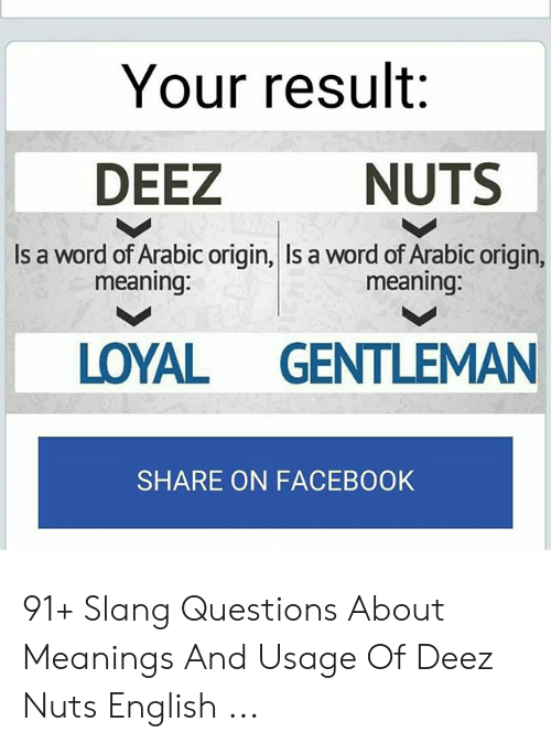 Your Result NUTS DEEZ Is a Word of Arabic Origin Is a Word of Arabic
