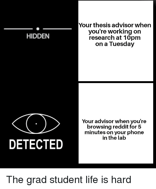 Life, On a Tuesday, and Phone: Your thesis advisor when  you're working on  research at 10pm  on a Tuesday  HIDDEN  Your advisor when you're  browsing reddit for 5  minutes on your phone  in the lab  DETECTED