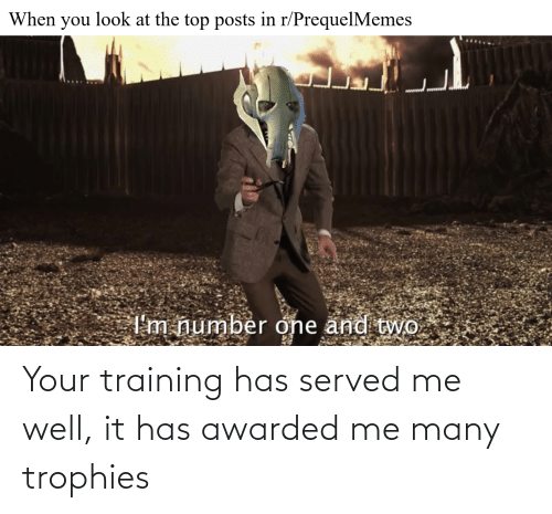 Training, Trophies, and Well: Your training has served me well, it has awarded me many trophies