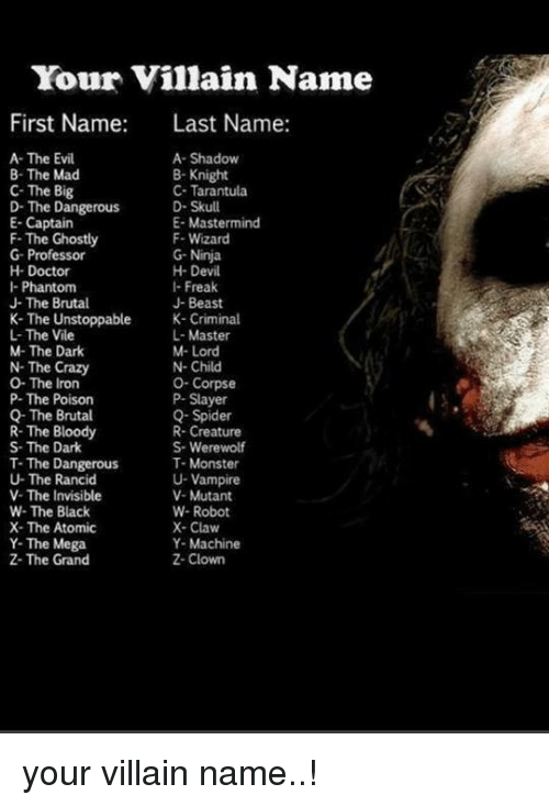 Your Villain Name First Name Last Name A- The Evil A ...