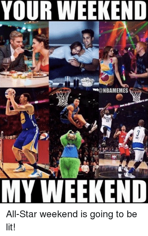 All Star, Lit, and Nba: YOUR WEEKEND  @NBAMEMES  23  MY WEEKEND All-Star weekend is going to be lit!
