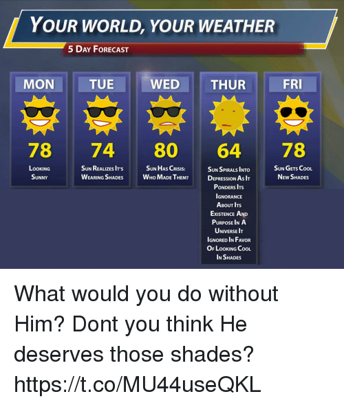 Cool, Depression, and Forecast: YOUR WORLD, YOUR WEATHER  5 DAY FoRECAST  MON  TUE  WED  THUR  FRI  78 74 80 64 78  SUN HAS CRISIS:  LOOKING  SUNNY  SUN REALIZES IT'S  WEARING SHADES WHo MADE TEM  SUN GETS CooL  NEw SHADES  SUN SPIRALS INTO  DEPRESSION As I  PONDERS ITS  IGNORANCE  ABOUT ITs  ExISTENCE AND  PURPOSE INA  UNIVERSE IT  IGNORED IN FAVOR  OF LOOKING CooL  IN SHADES What would you do without Him? Dont you think He deserves those shades? https://t.co/MU44useQKL