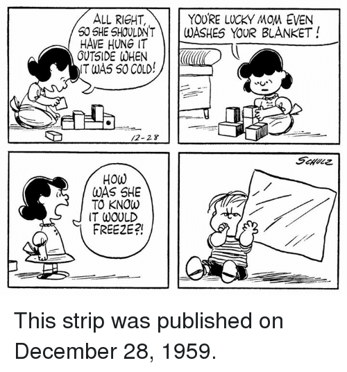 Memes, Moms, and Cold: YOURE LUCKY MOM EVEN  ALL RICHT,  50 SHE SHOULDNT  WASHES YOUR BLANKET  HAVE HUNG IT  OUTSIDE WHEN  IT WAS SO COLD  HOW  WAS SHE  TO KNOW  IT WOULD  FREE2E?! This strip was published on December 28, 1959.