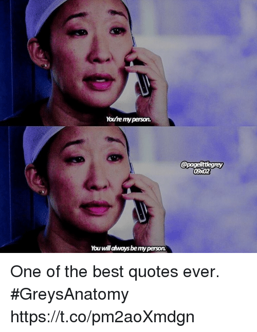 Memes, Best, and Quotes: You're my person.  @pagelittlegrey  09x02  You will always bemy person One of the best quotes ever. #GreysAnatomy https://t.co/pm2aoXmdgn