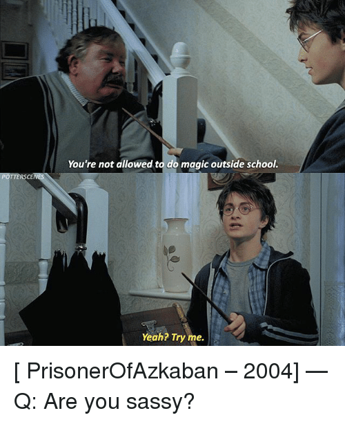 Memes, School, and Try Me: You're not allowed to do magic outside school.  POTTERSCE  Yeah? Try me. [ PrisonerOfAzkaban – 2004] — Q: Are you sassy?