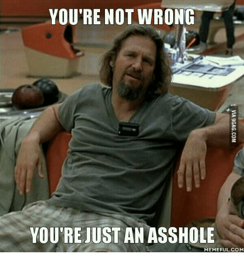 Assholism, Not-Wrong, and Asshole-Meme: YOU'RE NOT WRONG  YOU'RE JUST AN ASSHOLE  MEMEFUL COM