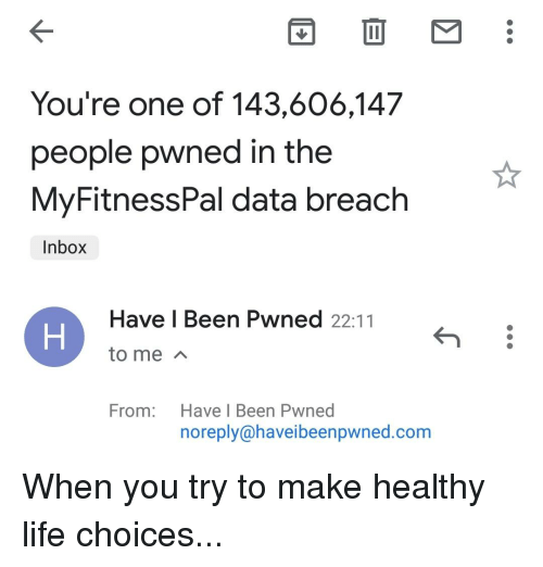 You're One of 143606147 People Pwned in the MyFitnessPal