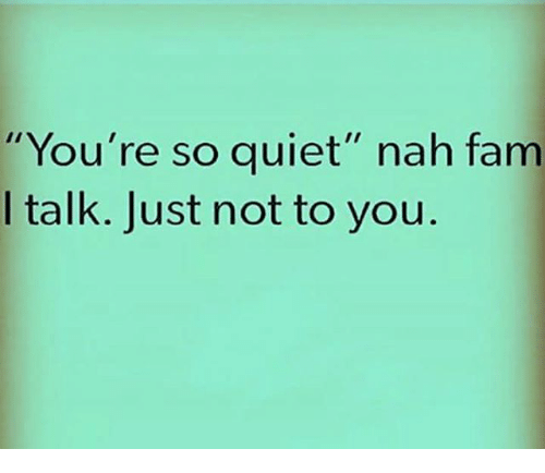 "Fam, Memes, and Quiet: You're so quiet"" nah fam  I talk. Just not to you"