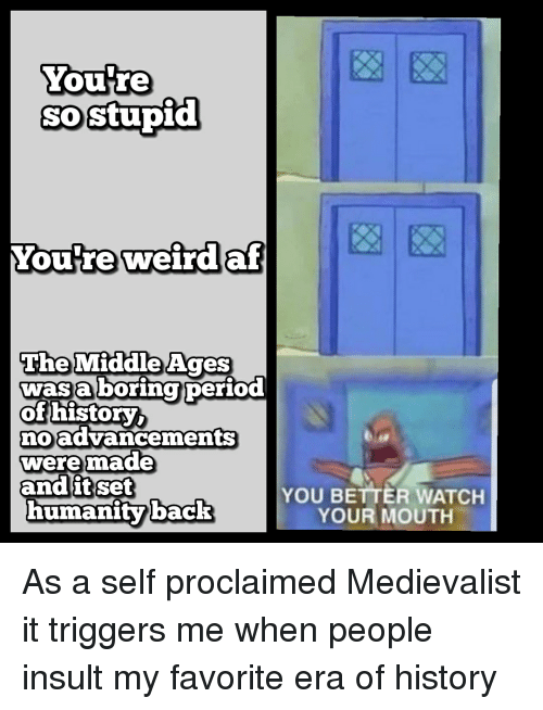 History, Watch, and Humanity: Youre  SO  sostupid  Youtreweirdaf  TheMiddle Ages  wasa boring  of history  oadvancements  weremade  humanity back  YOU BETTER WATCH  YOUR MOUTH
