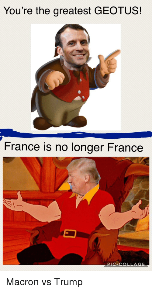 Collage, France, and Trump: You're the greatest GEOTUS!  France is no longer France  pIC.COLLAGE