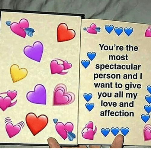 Love, All, and You: You're the  most  spectacular  person and I  want to give  you all my  love and  affection
