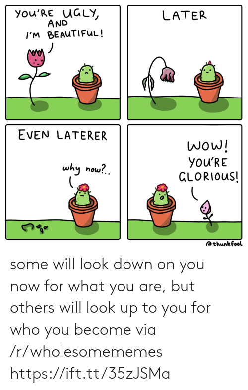 Beautiful, Ugly, and Wow: you'RE UGLY,  AND  LATER  I'M BEAUTIFUL!  EVEN LATERER  wow!  you'RE  GLORIOUS!  why now?.  Qthunkfool some will look down on you now for what you are, but others will look up to you for who you become via /r/wholesomememes https://ift.tt/35zJSMa