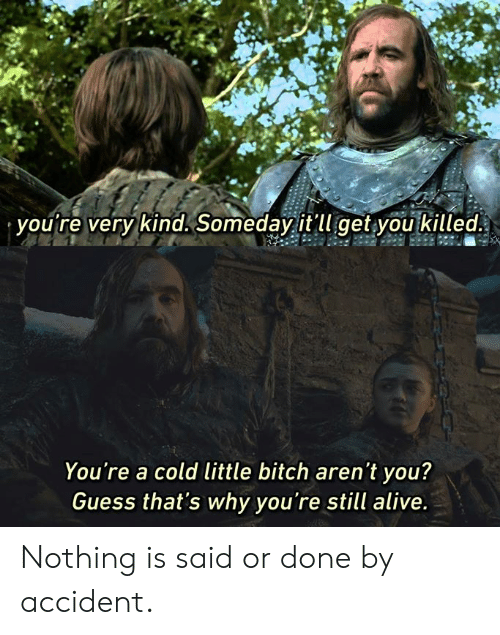 Alive, Bitch, and Dank: you're very kind. Someday it'll get you killed.  You're a cold little bitch aren't you?  Guess that's why you're still alive Nothing is said or done by accident.