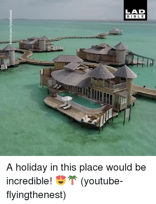 Memes, youtube.com, and Bible: YouTube.com/flyingthenest  LAD  BIBLE A holiday in this place would be incredible! 😍🌴 (youtube-flyingthenest)
