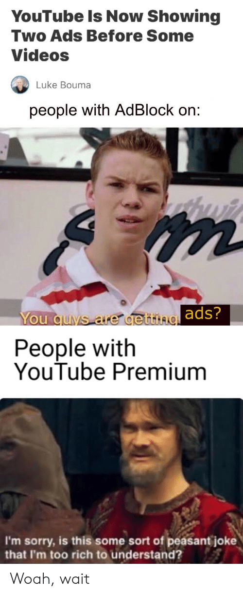 Sorry, Videos, and youtube.com: YouTube Is Now Showing  Two Ads Before Some  Videos  Luke Bouma  people with AdBlock on:  You quvs are de ttingads?  People with  YouTube Premium  I'm sorry, is this some sort of peasant joke  that I'm too rich to understand? Woah, wait