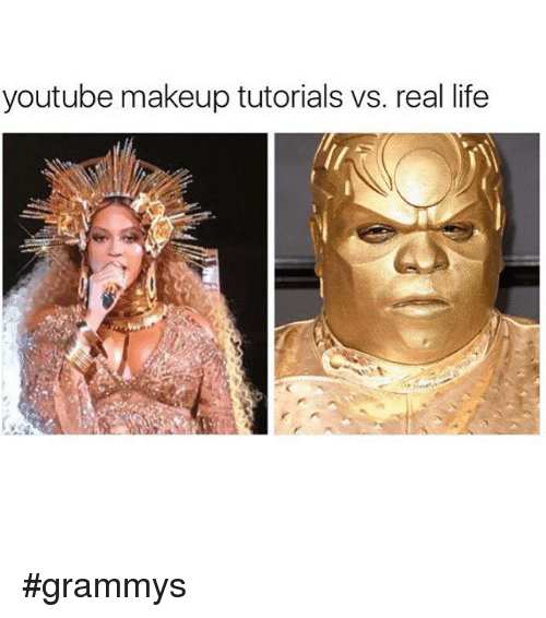 Memes, 🤖, and Tutorial: youtube makeup tutorials vs. real life #grammys
